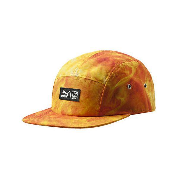 PUMA Alife Cap - Orange/White ($35) ❤ liked on Polyvore featuring accessories, hats, 5 panel hat, orange hat, white cap, orange cap and pattern hats