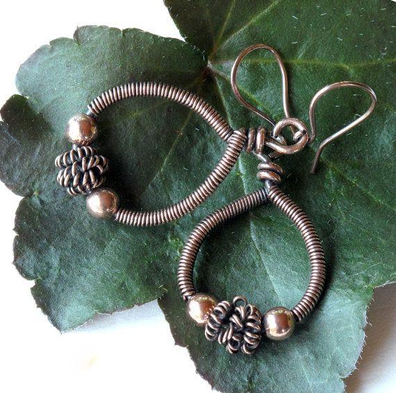 Copper hoop earrings  wire wrapped teardrop dangles by dalystudios, $17.00