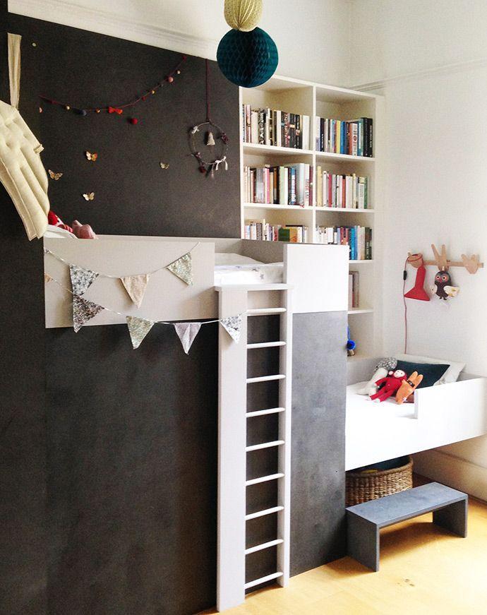 Shared Kidsu0027 Rooms DIY bunk beds with book nook