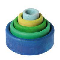 GRIMM's - Bols gigognes en bois, jeu d'empilage ou de tri, Bleu-vert
