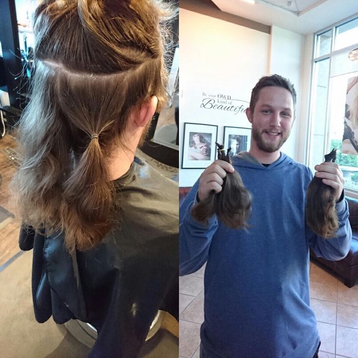 "Check out Adam Lloyd with his make over! Donating 9"" to Cancer! #cancer #donate #crimson #kelowna #kelownanow #makeover #fightcancer #support #barber #menscut #gentlemen #pomade #menstyle  Hair by Vanessa"