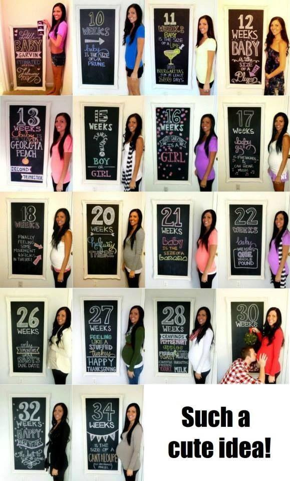 Pregnancy photos week by week on a chalk board.