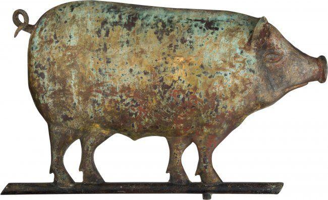 43480: American Folk Art: Pig Weathervane. Full body copper