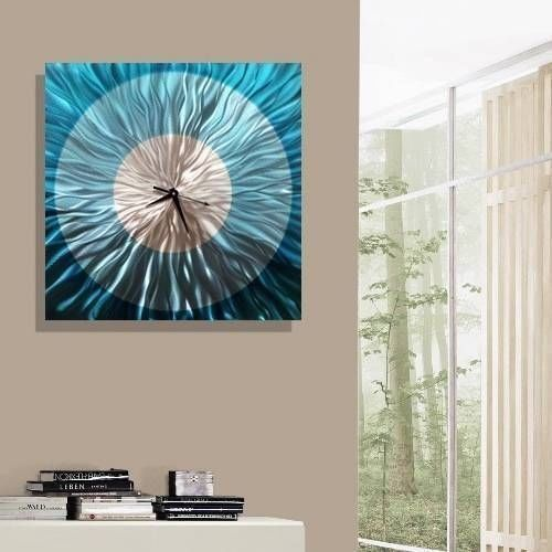 Modern Abstract Aqua Blue and Silver Wall Clock - Handmade Metal Wall Art Sculpture - Functional Art, Wall Decor - Aquatica Clock By Jon Allen - 24    Blue wall art is a sophisticated and trendy way to deck the walls of your home.   Blue  wall art makes your home feel harmonious, peaceful and relaxing.  However blue wall art can also create a bold first impression .      -inch