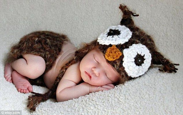 Not much of a night owl: Baby Owl Crochet Hat and Diaper Cover, $56.00