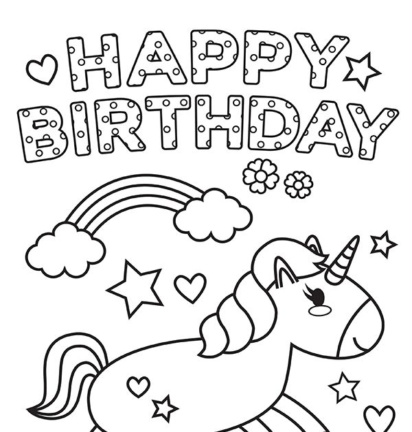 Printable Unicorn Happy Birthday Coloring Pages in 2020 ...