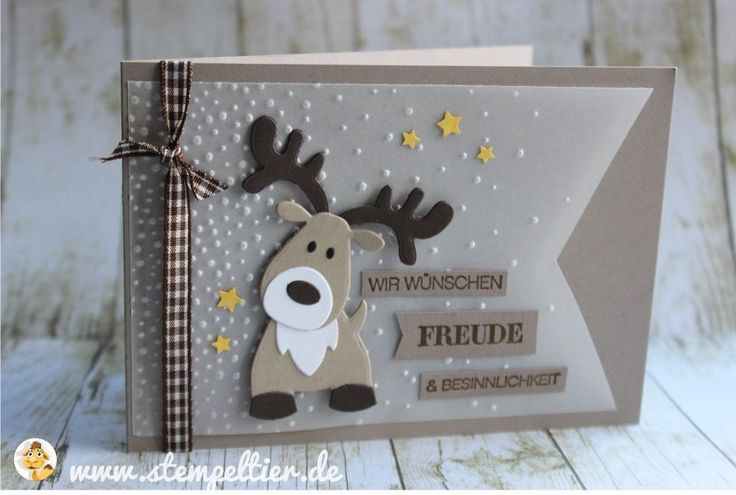 handmade Christmas card ... adorable die cut reindeer ... kraft ... luv the tracing paper main panel with fishtail border and Gently Falling embossing folder texture ... great card!! ... Stampin' Up!