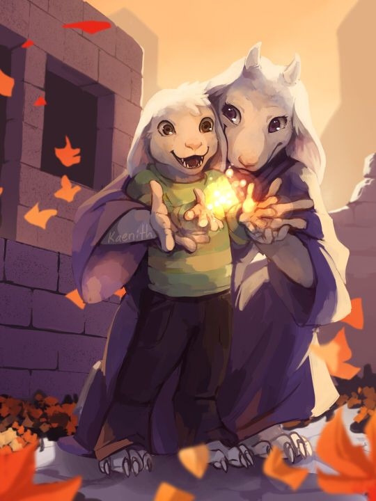 Toriel first teaching Asriel to use magic. by kaenith