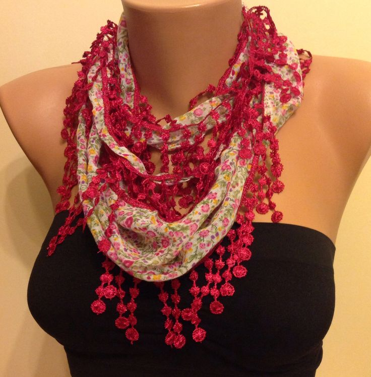 A personal favorite from my Etsy shop https://www.etsy.com/listing/207162421/red-floral-scarflace-scarfwomens