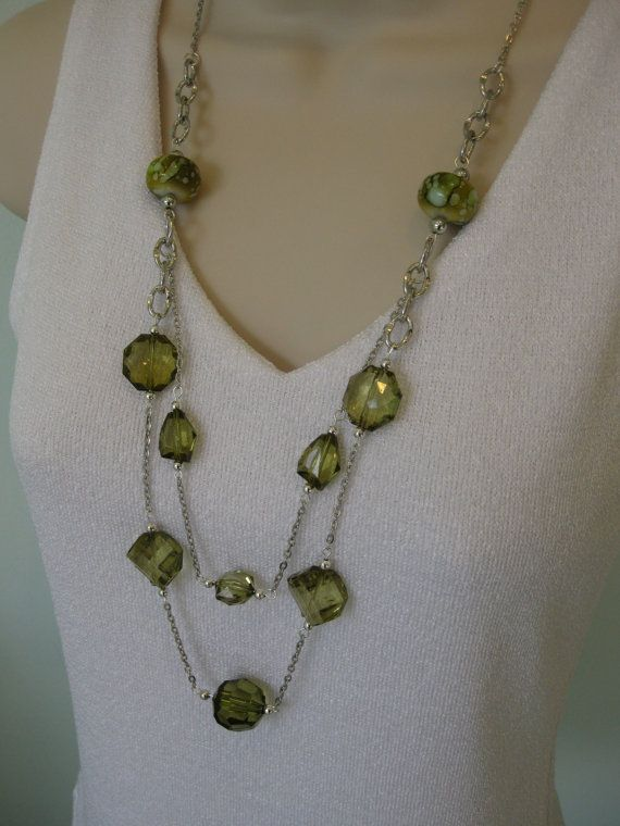 Long Chunky Green Beaded Necklace with Multi Strand Chains $18.00, on Etsy at RalstonOriginals.
