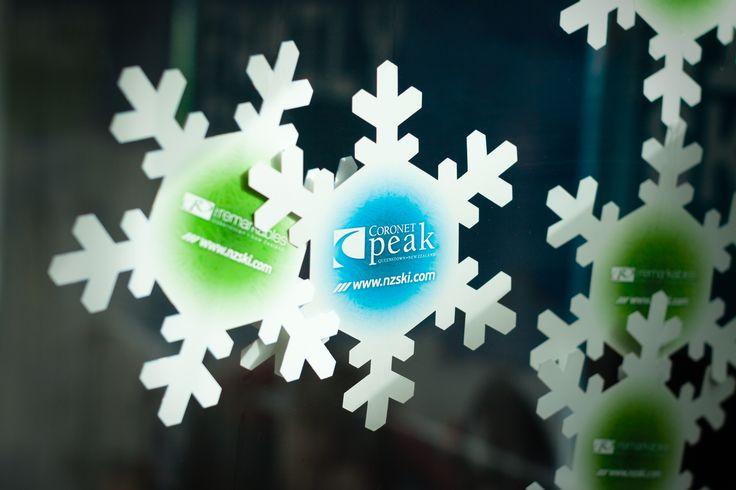 NZSki snowflake retail window hangers