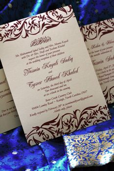 Yasmin and Tyseer's Damask wedding invitation from The Green Kangaroo