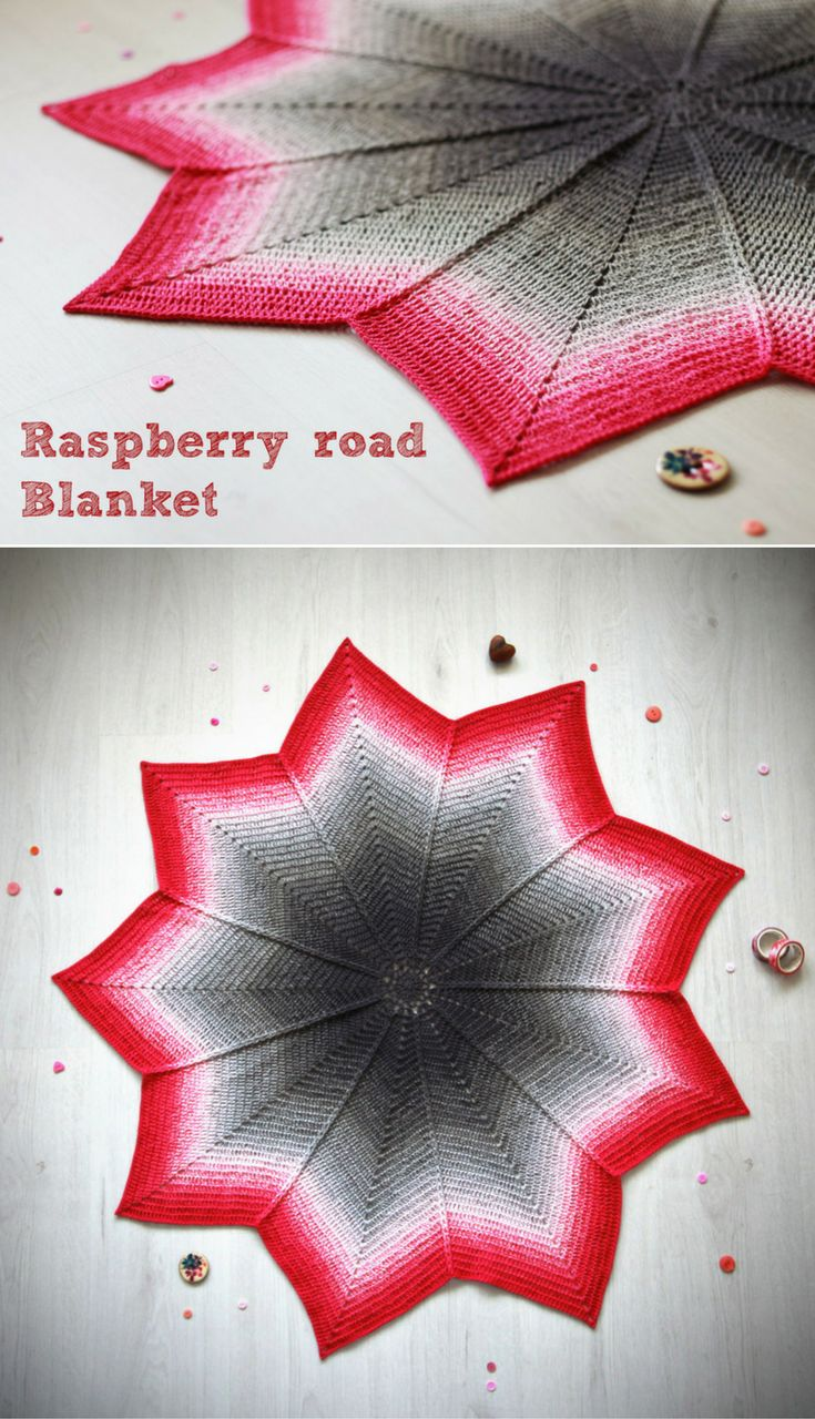 Free crochet pattern: Raspberry road blanket--round ripple