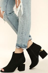 """The Way Up Black High Heel Peep-Toe Booties have made it to the tip top of our must-have list! A trendy peep-toe upper is made from sleek vegan leather, while an ankle-high shaft (with 5.75"""" zipper at the instep) completes the look!"""