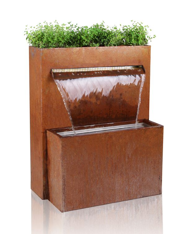 Corten+Steel+Waterfall+Cascade+Planter+with+LED+Lights+-+H89cm+x+W72cm