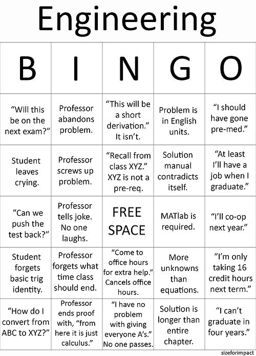 Engineering Student BINGO  It's kinda sad how many of these have happened in each of my classes...