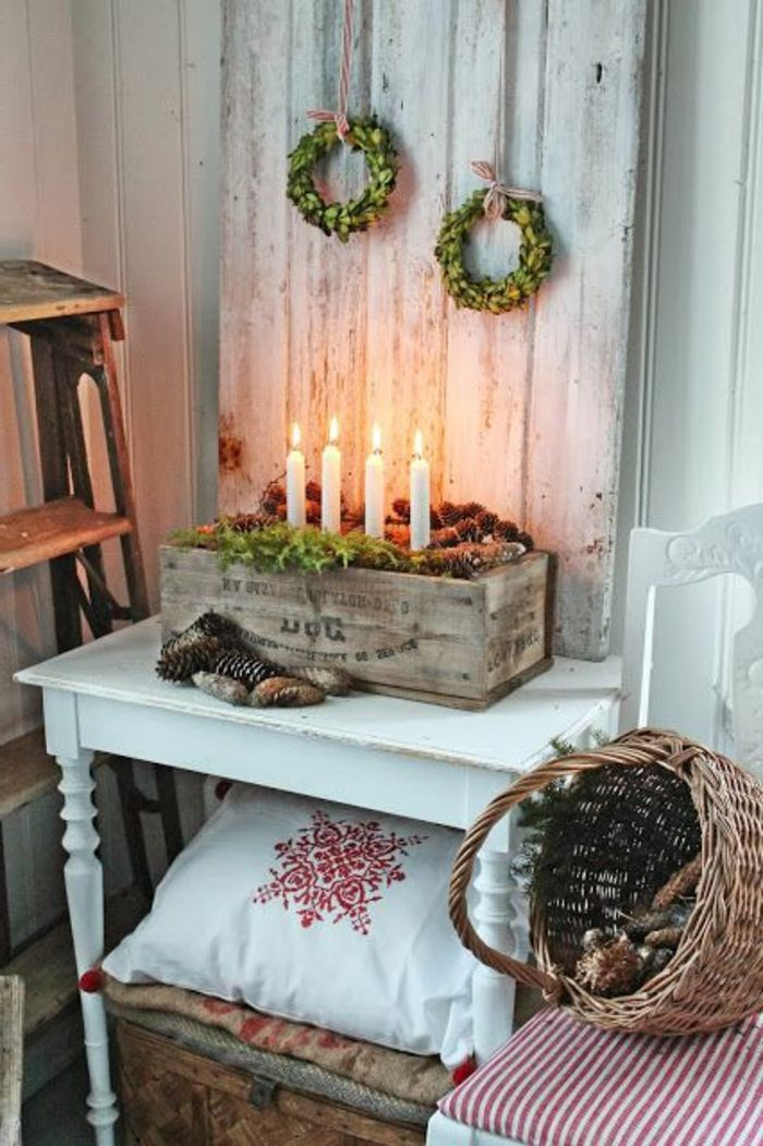 weihnachtsdekoration in skandinavischem landhausstil weihnachten winter pinterest deko. Black Bedroom Furniture Sets. Home Design Ideas