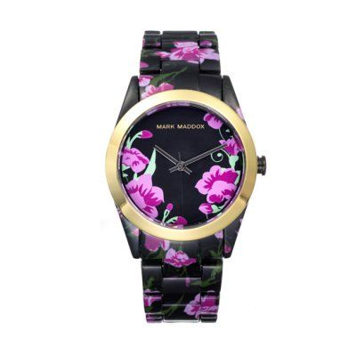 Mark Maddox - Ladies Colour Time Black & Pink Floral Watch - MP0003-50 - Online Price: £65.00