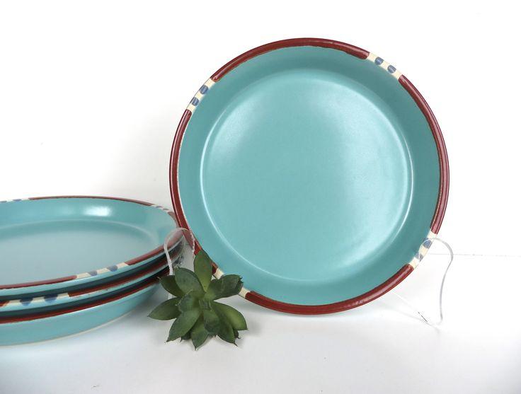 Set Of 4 Dansk Mesa Turquoise Salad Plates, Dansk Modern Southwestern Stoneware Side Plates by HerVintageCrush on Etsy
