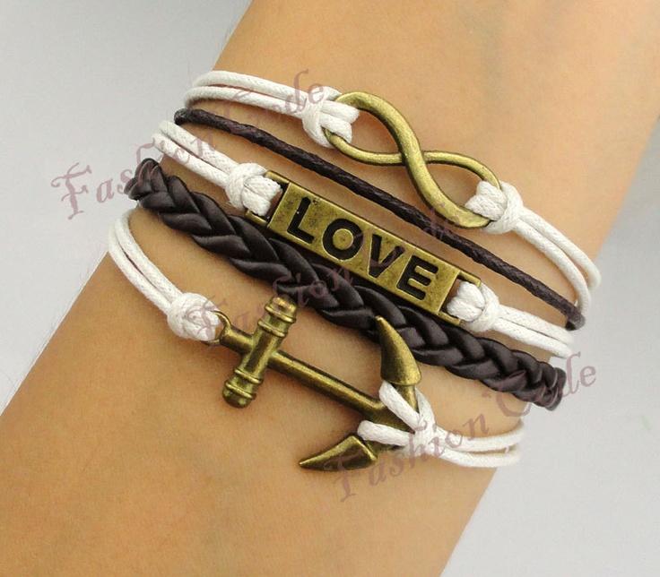 Infinity, Anchor & Love Bracelet--Antique Bronze Bracelet--Wax Cords and Imitation Leather Bracelet-$5.99, via Etsy.