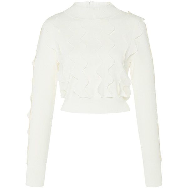 Long Sleeve Cropped Jumper | Moda Operandi (16.638.370 VND) ❤ liked on Polyvore featuring tops and sweaters
