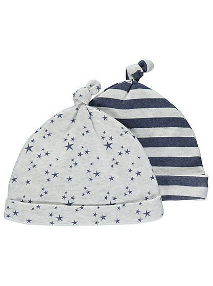 2 Pack Star Tietop Hats , read reviews and buy online at George at ASDA. Shop from our latest range in Baby. Protect your little one's head from the cold wea...