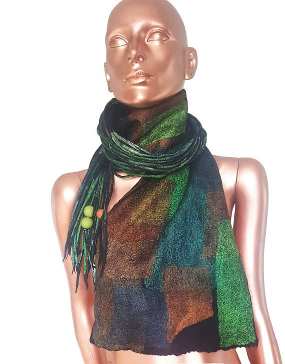 Very light scarf hand felted scarf silk mosaic feltpiece of