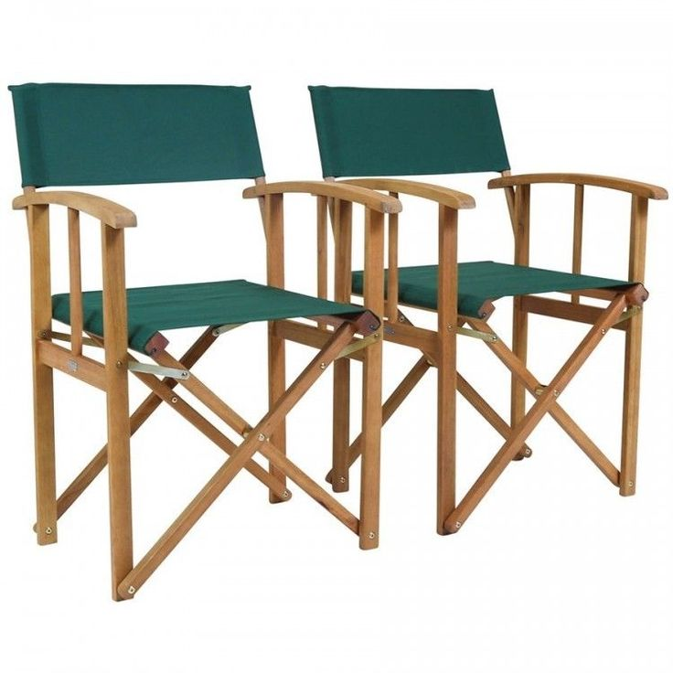 Folding Directors Chair Set 2 Wooden Outdoor Garden Relax Camping Green Fabric