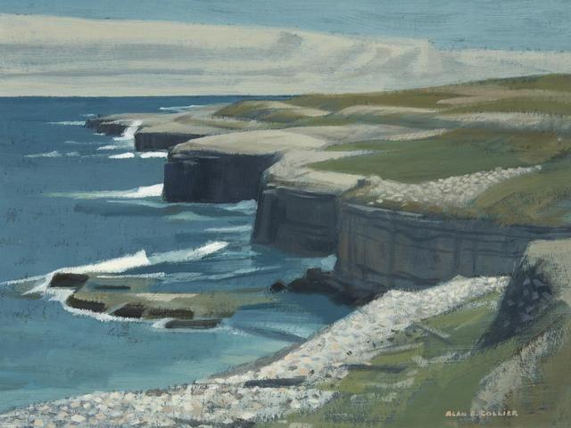 """""""Plage De La Dune De Sud, Isle De La Madeleine, P.Q.,"""" Alan Caswell Collier, oil on board, private collection."""