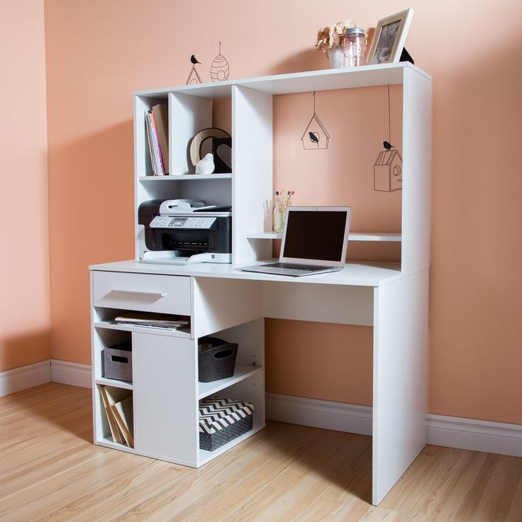 """Annexe Computer Desk with Hutch - Need a little help organizing your work space? This multi compartment desk offers a whole range of options to make storage easier. Its open modules are ideal for holding storage baskets, so you can """"customize"""" how you organize things and base it on your needs. The multi functional hutch was designed to hold a computer monitor, so it frees up space on your work surface and also leaves you the room you need for a printer."""