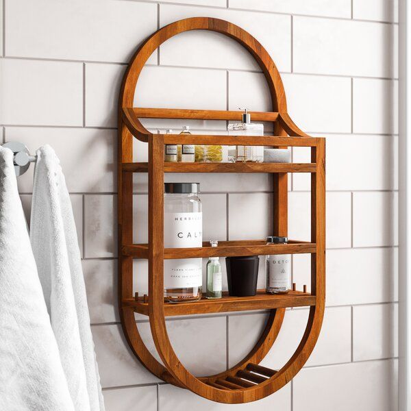 Eggert Teak Hanging Shower Caddy In 2020 Hanging Shower Caddy Teak Shower Shower Caddy