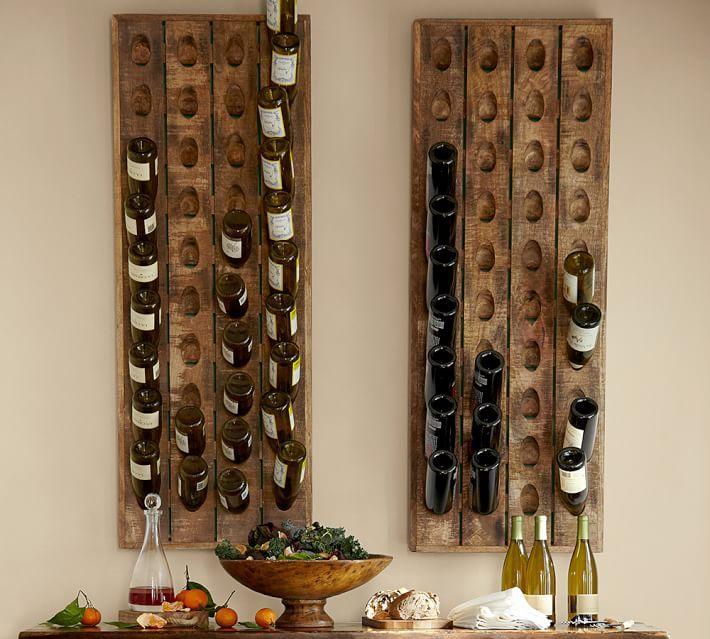 Wine bottle riddling rack diy cosmecol for Pottery barn wine rack wood