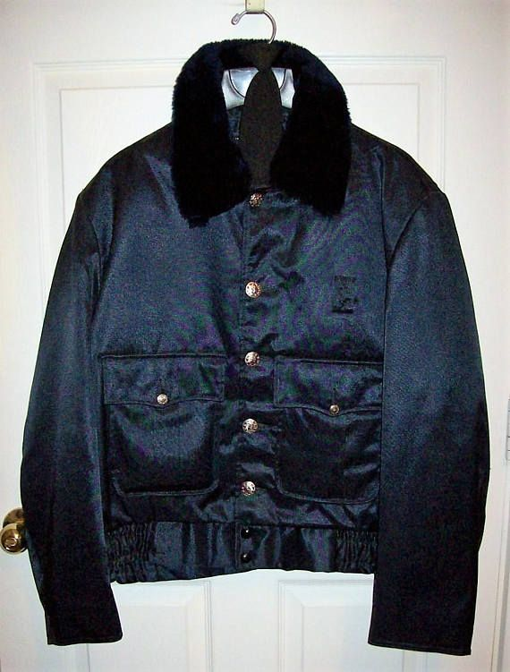 Vintage Men's Navy Blue Police Bomber Jacket Security