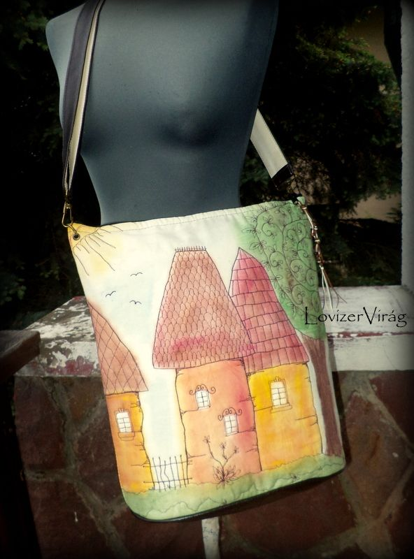Eclectic stiched art by ZerVir Embroidered bag with houses