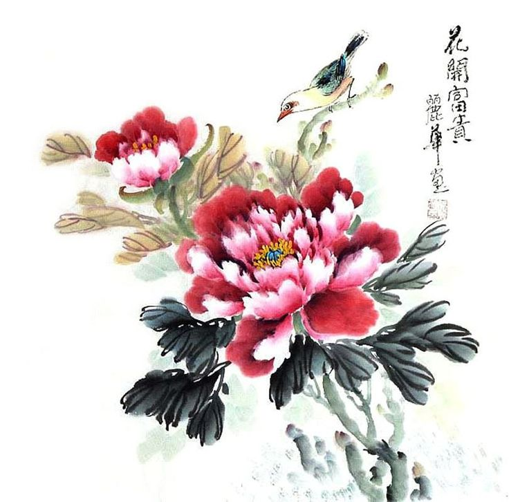 Peonies, by Zhang Li Hua -- Chinese Painting