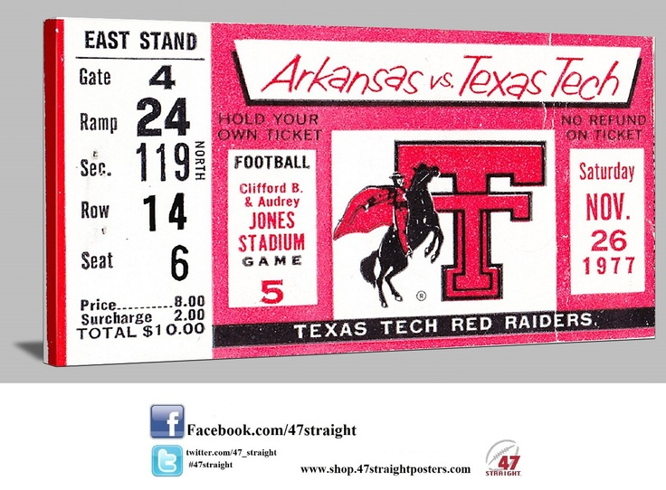 1977 Texas Tech football ticket art on canvas. Great college football art for a game room! #47straight Best Father's Day Gifts for football fans! 47 STRAIGHT.™ Texas Tech Father's Day Gifts.