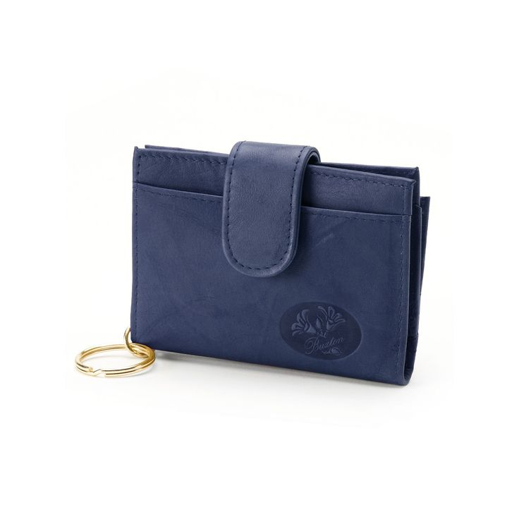 Buxton Heiress Pik-Me-Up Floral Embossed Leather Tab Card Case, Women's, Blue (Navy)