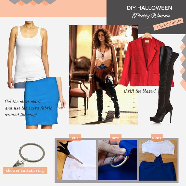 The blue skirt in this Pretty Woman costume is cotton... so you know you'll be comfortable as you rock this style. #halloween #costume