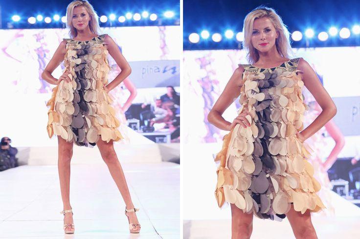Ohlaleando: Diseño de moda La modelo Jimena Butti abrió la pasada de la Escuela Argentina de Moda del Pinamar Moda Look 2015 con un diseño en calado láser muy tribal