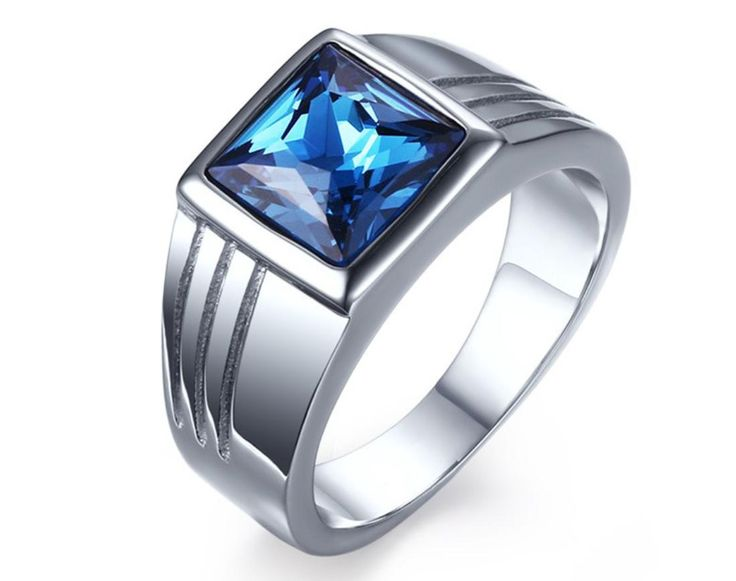 US$ 3.00 Wholesale Mens Stone Rings Stainless Steel