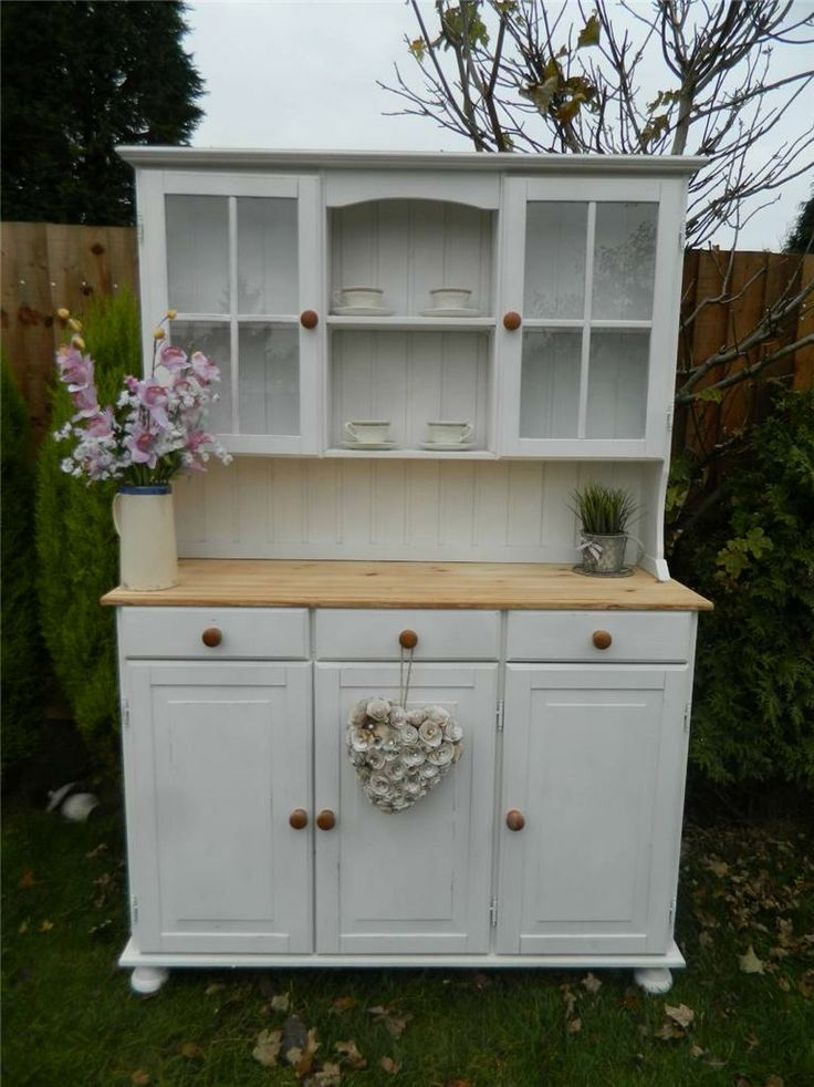 SHABBY STUNNING PINE WELSH DRESSER / DISPLAY CABINET PAINTED