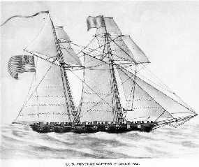 "USRC Pickering, 1798, 58ft. Brig rigged vessel...Revenue Service ""Jackass Brig"" served in Quasi-War with France."