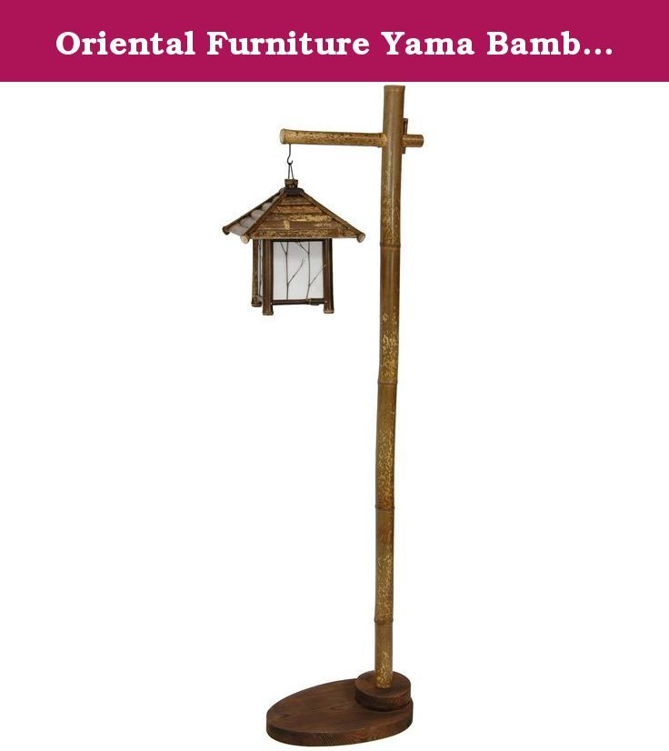 Oriental Furniture Yama Bamboo Lantern Stand. Rustic bamboo lantern stand provides a distinctly Asian decorative lighting solution. Wide wood base finished in a dark stain with visible wood grain. Authentic bamboo frame stained a medium brown. Pagoda style hanging lantern feature bamboo frame and roof and twig decorative accents over fiber reinforced rice paper. Wired for standard American light bulbs and electrical outlets.