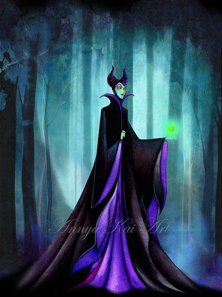 Maleficent - Dark Fantasy Wall Art - Disney Sleeping Beauty Evil Queen - NEW Painting Print by Annya Kai