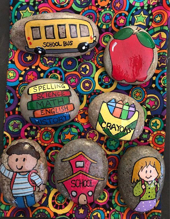 Set: 7 Piece School Time Painted Rocks Collectibles & Decor