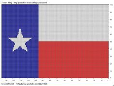 Tapestry crochet...   Texas state flag  w/print out chart.