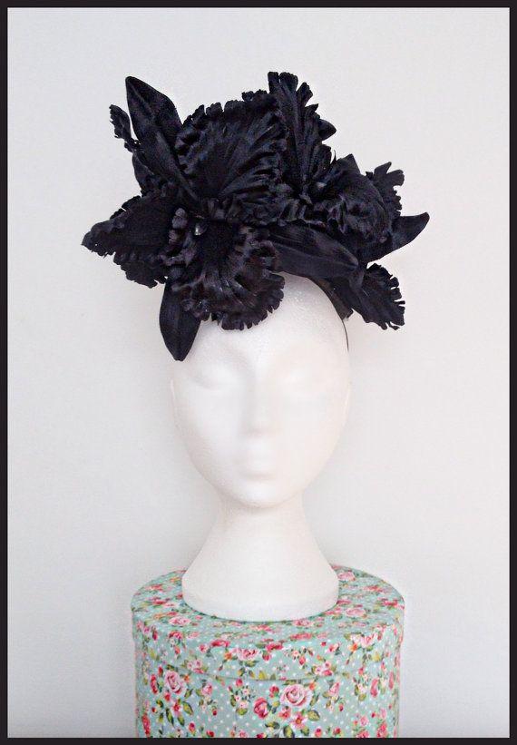 Black Silk Orchid Fascinator/Floral Fascinator/Race Day Headwear/Wedding.