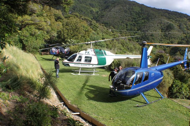 Chopper from Nelson, Picton, Blenheim, Wellington, Wairarapa, Kaikoura.  wherever. land on our on-site helipad.
