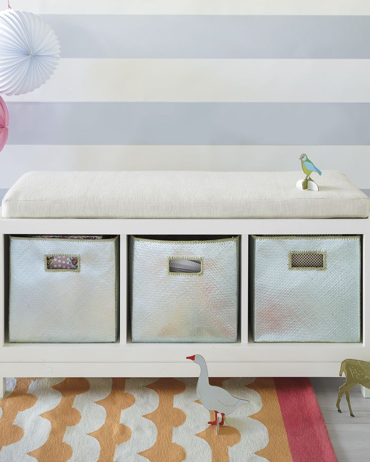 storage bench metallic bins kids playroom organization