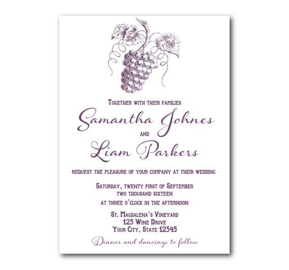 Vineyard Wedding Invitation Winery Wedding Invitation Set